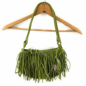 American Eagle Fringed Leather Green Purse